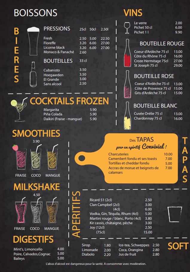 carte boissons
