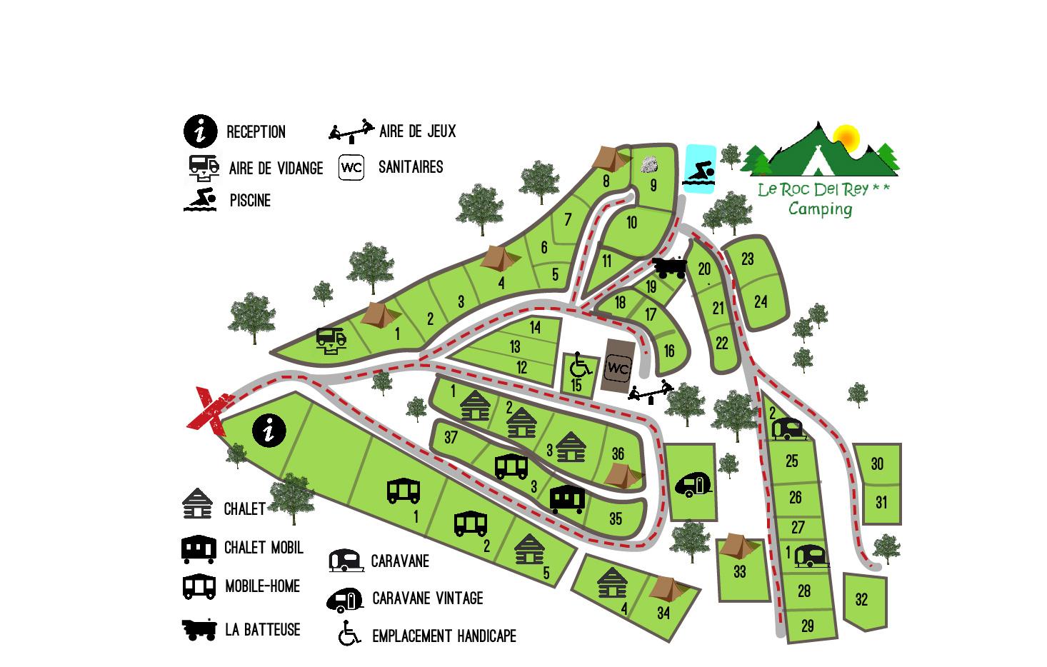 Plan du camping le Roc del Rey