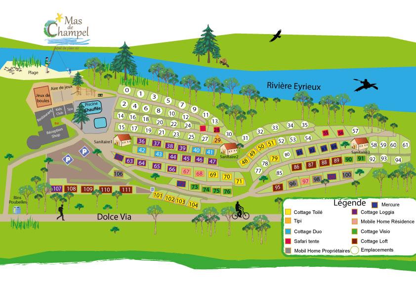 Plan du Camping le Mas de Champel